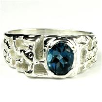 SR197, London Blue Topaz, 925 Sterling Silver Men's Ring
