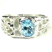 SR197, Swiss Blue Topaz, 925 Sterling Silver Men's Ring