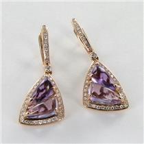 Bellarri Earrings Visions 0.36cts Diamonds Amethyst 14k Rose Gold NEW $2250