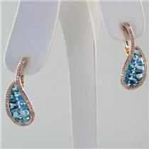 Bellarri Earrings Le Petite 0.36cts Diamonds 7.05cts Swiss Blue Topaz 18k Rose Gold NEW $3600