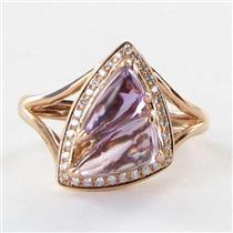 Bellarri Ring Sz 7 54 Visions 0.14cts Diamonds 3.15cts Amethyst 14k Rose Gold NEW $1290