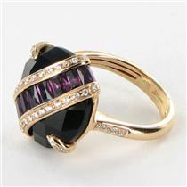 Bellarri Ring Sz 7 54 Gigi 0.21cts Diamond 9.80ct Rhodolite 18k R Gold NEW $3215