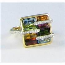 Bellarri Sz 7 54 Boulevard Ring 0.18cts Diamond 5.90cts Multi Gem Stone 18k Rose Gold New $2895