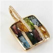 Bellarri Enhancer Pendant Boulevard 0.15cts Diamond 12.65cts Gemstones 18k Rose Gold New $4625 ***Ne