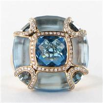 Bellarri Ring Sz 7 54 Valentina 0.25cts Diamond Blue London Blue Topaz 18k Rose Gold New $5150 ***Ne