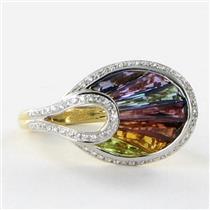 Bellarri Ring Sz 7 54 La Bouquet 0.27cts Diamond 2.70cts Mixed Gemstones 18k Yellow Gold New $2970 *