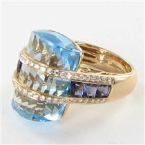 Bellarri Ring Sz 7 54 Tango 0.38cts Diamond 23.15cts Blue Topaz 1.25cts Iolite 18k Rose Gold New $51