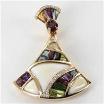 Bellarri Enhancer Pendant Moorea 0.08cts Diamond Mother of Pearl Mixed Gemstones 18k Rose Gold New $