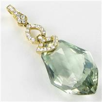 Bellarri Pendant Legacy 0.33cts Diamond 17.4cts Prasiolite 18k Yellow Gold New $4640