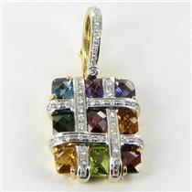 Bellarri Enhancer Pendant Mosaic 0.29cts Diamond 4.20cts Gemstones 18k Yellow Gold New $5425 ***New