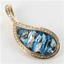 Bellarri Enhancer Pendant Le Petite 0.17cts Diamond 4.95cts Blue Topaz 18k Rose Gold New $2035 ***Ne