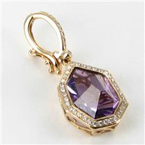 Bellarri Enhancer Pendant Tuscany 0.23cts Diamond 5.50cts Amethyst 18k Rose Gold New $3080 ***New Wi