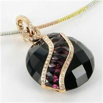 Bellarri Necklace Gigi 0.31cts Diamonds Black Onyx Rhodolite Garnets 18k Tri Color Gold New $4990 **