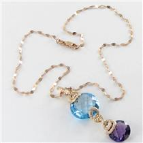 Bellarri Necklace Cabaret 0.26cts Diamonds 19.4cts Blue Topaz Amethyst 18k Rose Gold New $3650