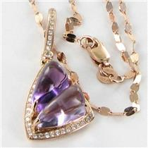 Bellarri Necklace Visions 0.14cts Diamonds 4.70cts Amethyst 14k Rose Gold New $1540