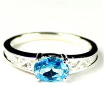 SR362, Swiss Blue Topaz, 925 Sterling Silver Ladies Ring