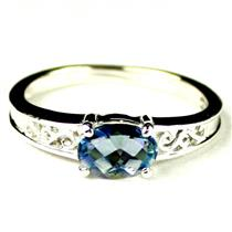 SR362, Neptune Garden Topaz, 925 Sterling Silver Ladies Ring