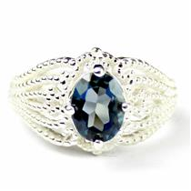 SR365, London Blue Topaz, 925 Sterling Silver Beaded Ring