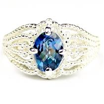 SR365, Neptune Garden Topaz, 925 Sterling Silver Ladies Ring