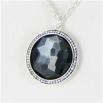 Ippolita Large Lollipop 0.22cts Diamond Necklace Hematite Sterling 925 NWT $1195