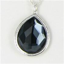 Ippolita Necklace Stella Large Teardrop Hematite Diamonds 0.29cts Sterling 925 NWT $1395