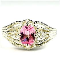 SR365, Created Pink Sapphire, 925 Sterling Silver Ladies Ring