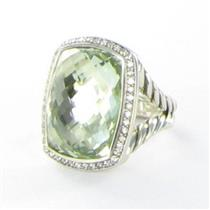 David Yurman 20x15mm Prasiolite Diamond 0.39cts Ring Split Sterling Sz 6 $2200