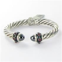 David Yurman Bracelet 8.5mm Renaissance Hematite Ruby Sterling Silver NWT $2200
