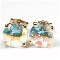 E012, Mercury Mist Topaz, 14k Gold Earrings