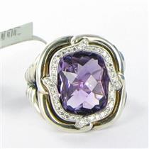 David Yurman Labyrinth Amethyst Diamond 0.18cts Sterling Ring Sz 6 NWT $1350