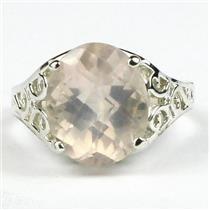 SR057, Rose Quartz, 925 Sterling Silver Ring
