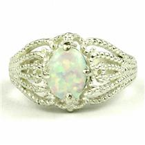 SR365, Created White Opal, 925 Sterling Silver Ring