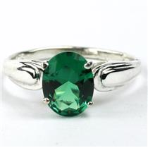 SR058, Russian Nanocrystal Emerald, 925 Sterling Silver Ring