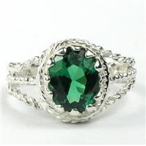 Russian Nanocrystal Emerald,925 Sterling Silver, SR070