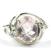 SR021, Rose Quartz, 925 Sterling Silver Ring