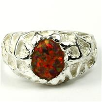 SR168 Created Red Brown Opal, 925 Sterling Silver Men's Nugget Ring