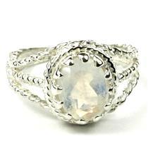 Rainbow Moonstone, 925 Dterling Silver Ring, SR070