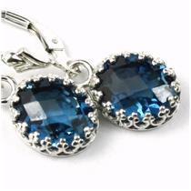 SE109, London Blue Topaz, 925 Sterling Silver Crown Bezel Leverback Earrings