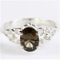 SR302, Smoky Quartz,  925 Sterling Silver Ring