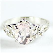 SR302, Rose Quartz,  925 Sterling Silver Ring