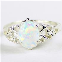 SR302, Created White Opal, 925 Sterling Silver Ring