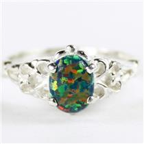 SR302, Created Black Opal, 925 Sterling Silver Ladies Ring