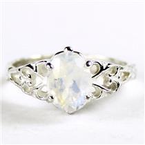SR302, Rainbow Moonstone, 925 Sterling Silver Ring