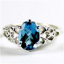 SR302, London Blue Topaz, 925 Sterling Silver Ring