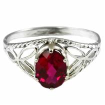 SR137, Created Ruby, 925 Sterling Silver Ring