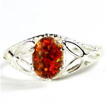 SR137, Red Brown Created Opal, 925 Sterling Silver Opal