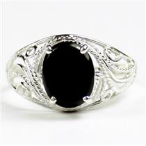 SR083, Black Onyx, 925 Sterling Silver Ladies Ring