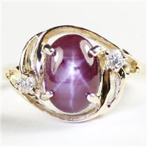 R021, Star Ruby, 10KY Gold Ladies Ring w/ Accents