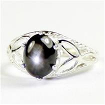 SR137, Black Star Sapphire, 925 Sterling Silver Ladies Ring