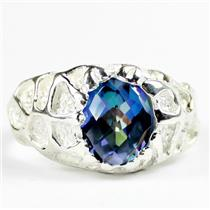 SR168, Neptune Garden Topaz, 925 Men's Sterling Silver Ring